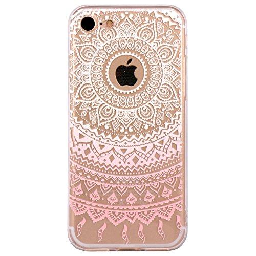 Coque iPhone 7 Silicone Étui Housse JIAXIUFEN Transparent Souple TPU Protecteur Coque pour iPhone 7 - Pink Circle Flower Tribal Mandala Mandala-White Pink