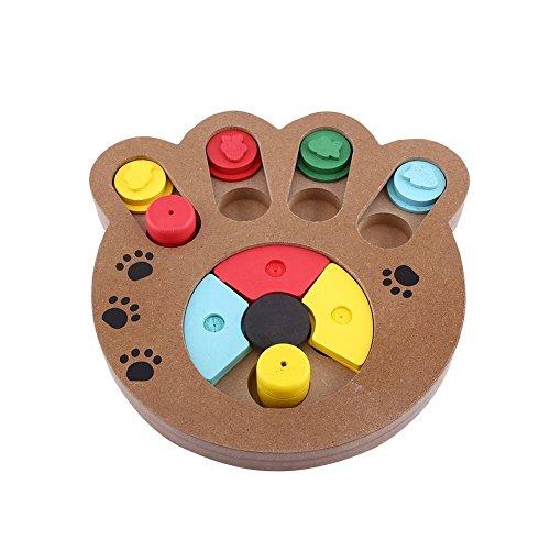 Juguete interactivo y educativo para mascotas, se utiliza con la comida, hecho de madera, en forma de huella