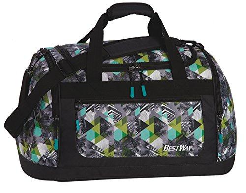 Sporttasche Schwimmtasche für Schule Sport Freizeit Tasche Badetasche Reisetasche Travel Bag Melange grau Palmen grau grün