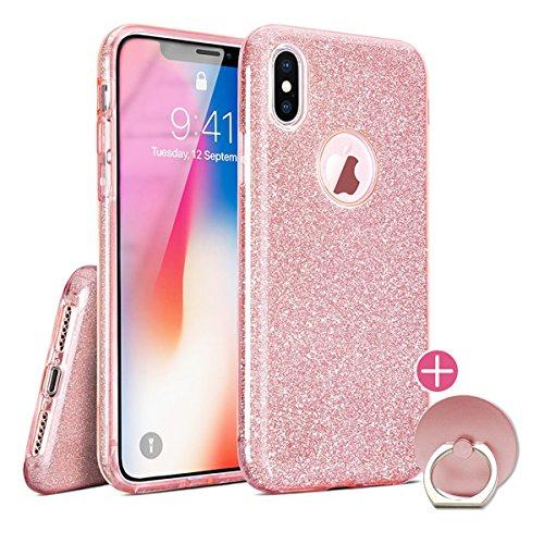 iPhone X XS 10 Hülle Glitzer Glitter Case Silikon mit Fingerhalterung Rosa Pink Iphone Pink Silikon