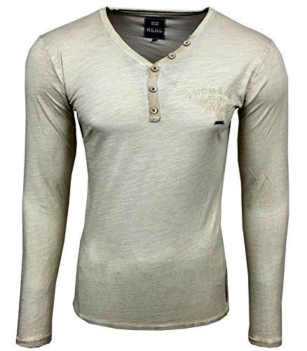 RUSTY NEAL Herren V-Neck Figurbetont Langarm Unifarben Longsleeve T-Shirt 10123 Beige