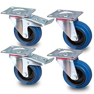 PRIOstahl® Transportrollen Lenkrolle - Lenkrolle mit Bremse blau | 100mm| blue wheels | (SET 4 Rollen) | 2 Stück Lenkrolle - 2 Stück Lenkrolle mit Bremse