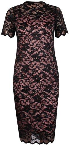 Da donna vestito a maniche corte scollo rotondo elasticizzato foderato in pizzo floreale  MIDI Dress Plus size Schwarz & Pfirsich