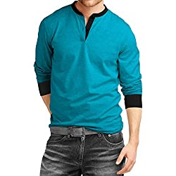 Fanideaz Men's Cotton Henley Full sleeve T Shirts for Men(Premium Turquoise Blue Henley T-Shirt)_Turquoise Blue_L