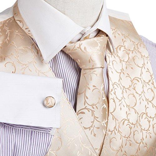 Y&G - Ensemble avec Boutons de manchettes, Cravate, Mouchoir, Noeud Papillon - pour Homme - Brun - pour Costume Vs1013 VS1031-Orange