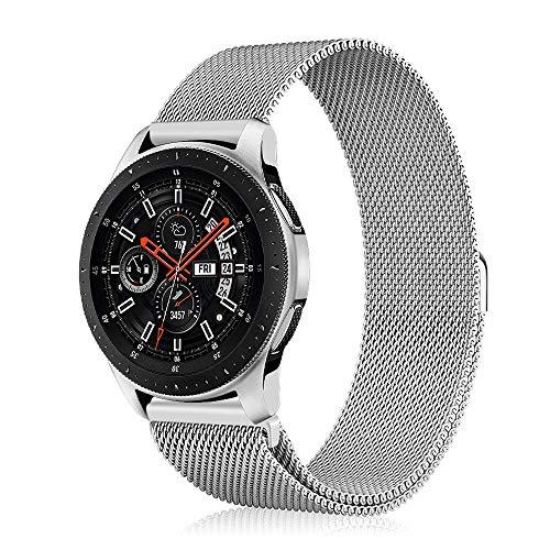 FINTIE Correa para Samsung Galaxy Watch 46mm / Gear S3 Classic/Gear S3 Frontier - [Cierre Única del Imán] 22mm Pulsera de Repuesto de Acero Inoxidable Ajustable Banda, Plateado