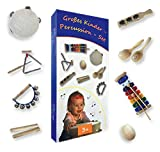 Großes Kinder-Percussion-Set, Kinder Instrumente, 10-teilg aus Holz (FSC-zertifiziert) bestehend aus Glockenspiel, Maracas, Klanghölzer, Egg-Shaker u.a. - für die musikalische Früherziehung / Orff-Instrumente
