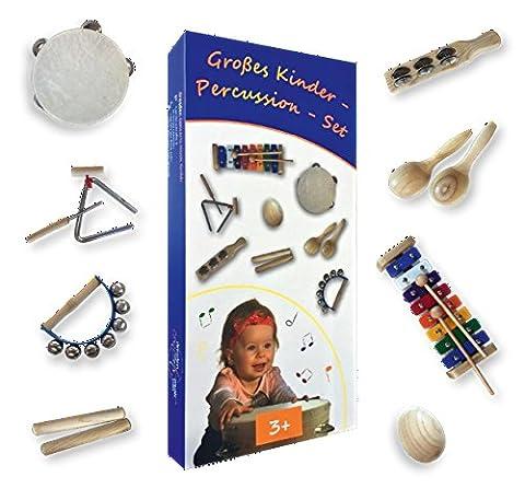Großes Kinder-Percussion-Set, Kinder Instrumente, 10-teilg aus Holz (FSC-zertifiziert) bestehend aus
