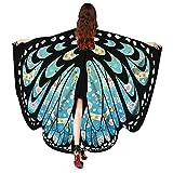 WOZOW Damen Schmetterling Flügel Kostüm Nymphe Pixie Schals Poncho Umhang Faschingkostüme...