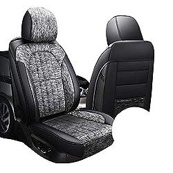 Auto-Sitzbezug - Four Seasons Leder Auto Sitzbezug - Cartoon Leinen Auto-Sitzbezug - Autozubehör für die meisten Fünf-Seater Autos,Grau