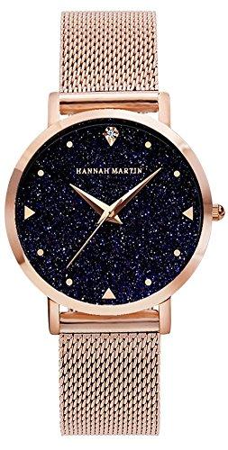 Uhren Damen Milanaise Armband, Ultraflach Damenuhr Sternenklarer Himmel, Classic Analog Damen Armbanduhr, Elegant Quarzuhr für Frauen Rose Gold