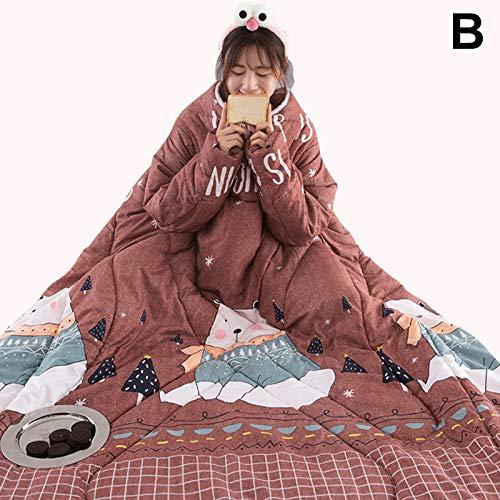 MAyouth Decke mit Ärmeln für Frauen und Männer, super weiche Bequeme tragbare werfen warme verdicken TV-Decke für Erwachsene (120 * 160) (B) - Decke Werfen ärmel