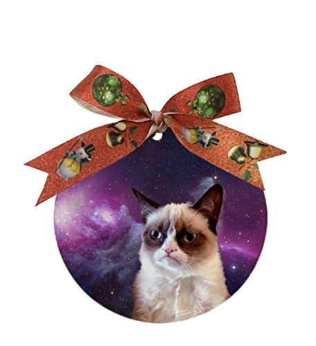 Udoosun Grumpy Cat Custom Einzigartige Personalisierte Rund Porzellan Ornament Hochzeit Weihnachtsdekoration Geschenk (Hochzeit Ornamente Personalisierte)