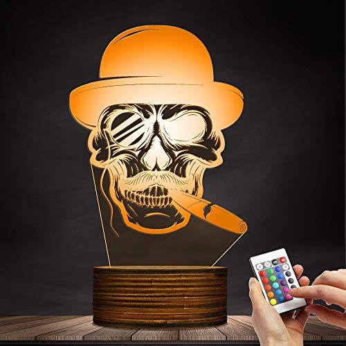 s Nachtlicht 3D Nachtlicht Zeichen Zigarre Rauchen Schädel Halloween Stimmung Licht Dekoration Skelett Rauch LED Nachtlicht Emotionales Nachtlicht ()