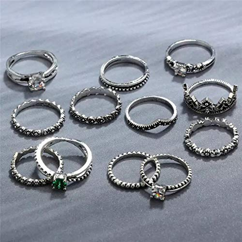 Shining Diva Fashion Rings for Women and Girls (Set of 12)-(9847r)