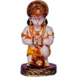 Purpledip Hindu Religious God Hanuman/Bajrangbali Statue: Sculpted In Marble Dust Or Poly Resin For Home Temple, Office Table Or Shop Puja Shelf | Hindu Religious Gift