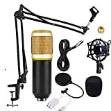 Qewmsg BM-700 Kit microphone à condensateur Pied de bras pour ciseaux à suspension de studio