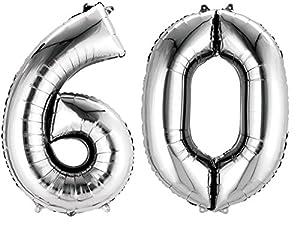 amscan 3387601 - Globos de Papel de Aluminio con Forma de número 60 (16 Pulgadas)