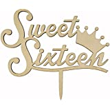 Shxstore Rustic Sweet Sixteen Monogram Cake Topper Unique Wooden 16th Birthday Anniversary Cake Topper With Crown
