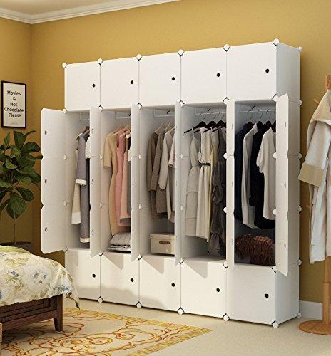 Koossy Erweiterbares Kleiderschrank mit Kategorie Aufkleber für Kinderzimmer, 185 x 47 x 185 cm,...