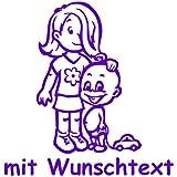 Babyaufkleber Autoaufkleber für Geschwister mit Wunschtext - Motiv G11-MJ (16 cm)