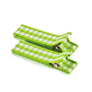 1 Paar hochwertige Haarspangen grün kariert – mit Stoff bezogen – KEIN ZIEPEN – Viele Variationen – Made in Gemany