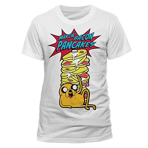 Adventure Time Herren T-Shirt Gr. L, weiß (Sleeve Short Jake Shirt)
