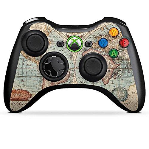 DeinDesign Microsoft Xbox 360 Controller Folie Skin Sticker aus Vinyl-Folie Aufkleber Vintage Weltkarte Karte Map (360-controller Grafik Xbox)