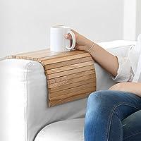 bandeja de madera que se adapta al brazo del sofá, butaca o sillón y a la mayoría de superficies inestables, acabado roble, ideal para regalo