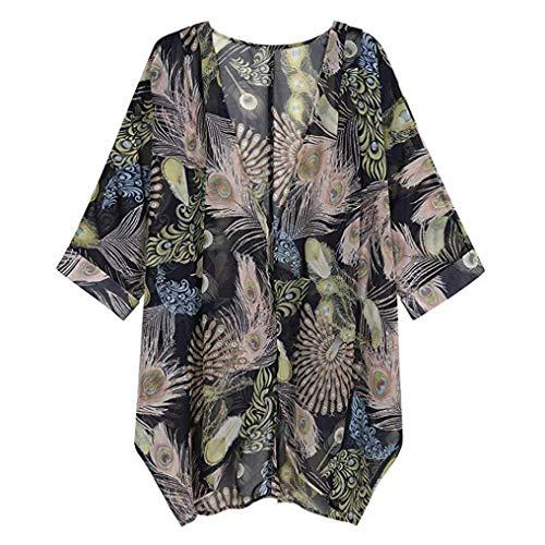 TWIFER Damen Blumendruck Langarm Chiffon Cardigan Lose Kimono Bluse Tops
