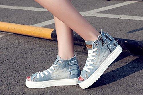 Wealsex Sneakers Basses Jean Bout Ouvert Plateforme Talon Epais Lacets Fermeture éclaire Femme Baskets Mode Chaussures Toile Casuel bleu clair