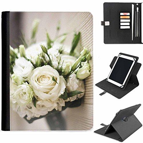 Hairyworm - Hochzeit Bouquet Samsung Ativ Tab P8510 (GT-P8510) Leder Klapphüllen Etui 360° Schwenkgehäuse, Schutzfolie mit Apple Bleistift / Stift / Stifthalter, Kartenfächern, Papierschlitz, Metallschnalle, Standfunktion