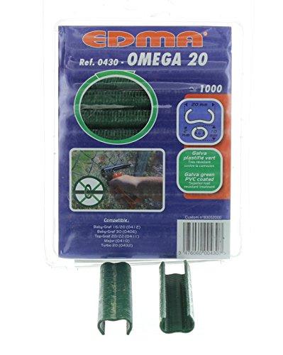 Krampen Omega Größe 20 für Drahtzaun-Verbindungszange 1000 Stück verzinkt/kunstoffbeschichtet/grün