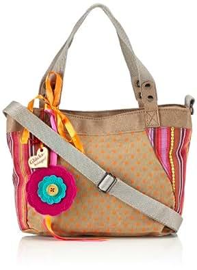 Adelheid Gute Zeiten Handtasche klein 11141803460 Damen Henkeltaschen 30x22x2 cm (B x H x T), Mehrfarbig (beige orange gepunktet 725)