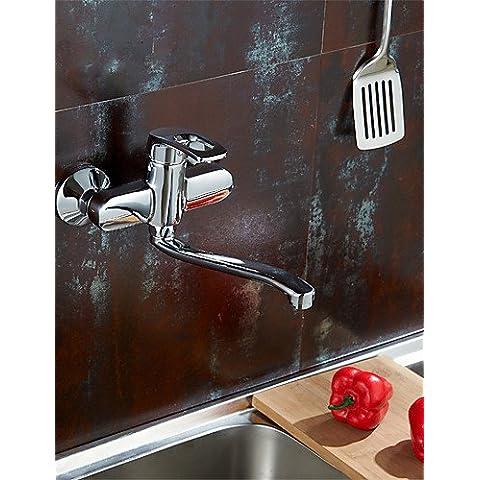 HuaJing® 0.5 montado en la pared un agujero sola manija grifo de la cocina de latón macizo cromado k4653 cocina acabado grifo