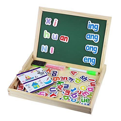 Rclhh Magnetische Reißbrett Puzzle-Spiele Holz Kinder Spielzeug Puzzle Board Portable Faltbare Lernen Lernspielzeug für 3 4 Jahre alt Kinder Kinder Mädchen Jungen (Puzzle Portable Board)