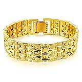 OPK gioielli 18K Placcato Oro Bracciale Uomo Cool Catena Diamante Taglio Carving braccialetto regalo di nozze 7.87pollici