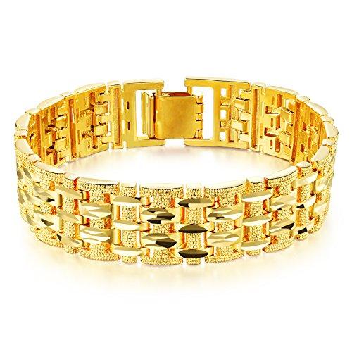 OPK, bracciale da uomo, placcato oro 18 kt, maglia a catena con taglio a diamante inciso, regalo per matrimonio, 19 cm