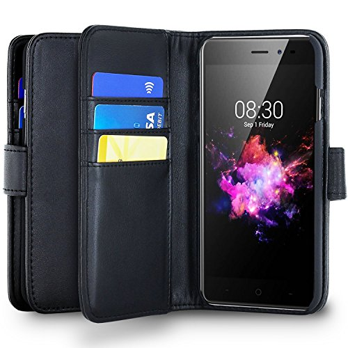 Olixar Neffos N1 Wallet Case - PU Faux Leather - Slim Protective Cover - Card Storage Slots and Built In Media Viewing Stand Leather Style - Black -