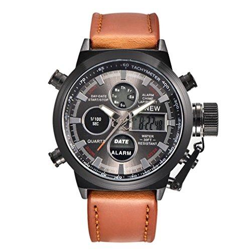 Coolster Herren Sport Military Army Wasser Resistant LED Kalender Uhren Leder Armbanduhr (Braun)