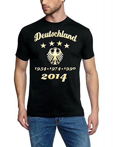 4. STERN ! WM 2014 Fußball Deutschland Adler Gold 4 Sterne T-Shirt schwarz-gold, Gr.L