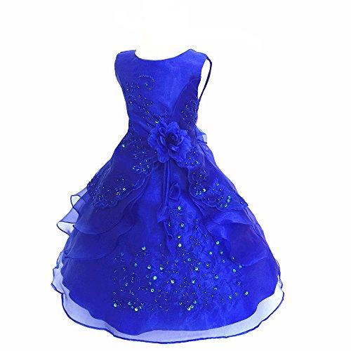 Kinder Mädchen Kleider Festlich 104 110 116 128 140 152 164 Blumenmädchen Kleidung Königsblau 160