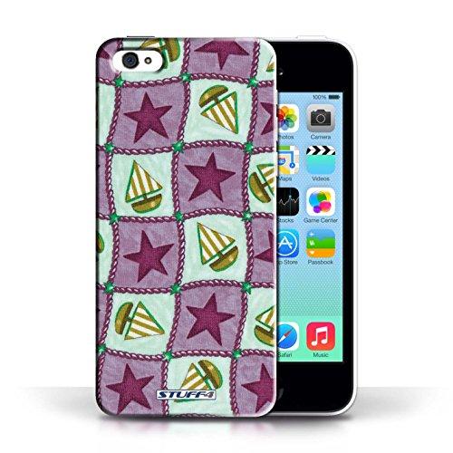 iCHOOSE Print Motif Coque de protection Case / Plastique manchon de telephone Coque pour Apple iPhone 5C / Collection Bateaux étoiles / Bleu/Vert Violettes/Vertes