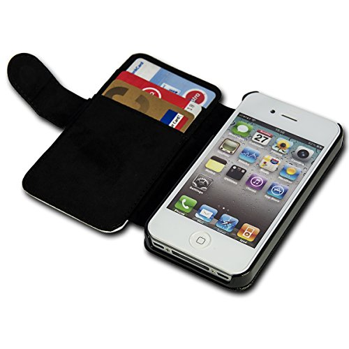 Book Style Flip Handy Tasche Case Schutz Hülle Schale Motiv Foto Etui für Apple iPhone 4 / 4S - Flip BV24 Design7 Design 4