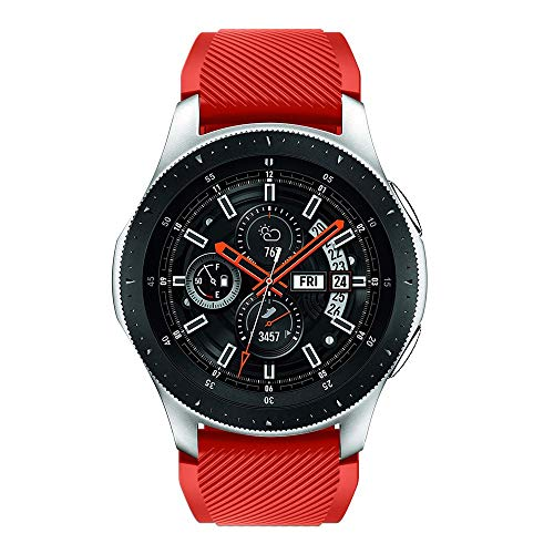 Vamoro Soft Silicone Watch Band Replacement Band Strap for Samsung Galaxy Watch 46mm Watch Straps Silikon Uhrenarmband mit Schnellverschluss(Rot)