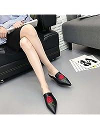 Mulas Zapatillas Cool Bordado Rosa zapatos planos Mujer Moda Dedo punteado Bordado Rosa Zapatillas Zapatos casuales sandalias Ol zapatos zapatos de la Corte Tamaño de la UE 34-39 , black , 38