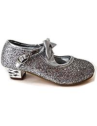 f111f12dcdb2 Girls Kids Childrens Xmas Party Wedding Bridesmaid Glitter HIGH MID Heel  Shoes