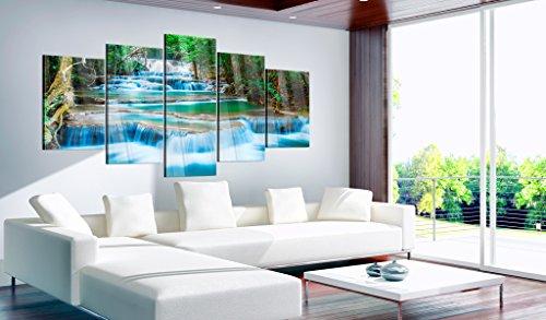 murando - Acrylglasbild Landschaft 200x100 cm - 5 Teilig - Glasbilder - Wandbilder XXL - Wandbild - Bilder - Natur Wasserfall Thailand Baum Wald b-B-0080-k-m - 4
