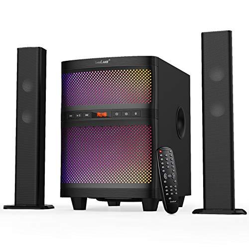 LuguLake 3-in-1 TV Soundbar Kit mit Subwoofer, Audioverstärker für Heimkino, Musikwiedergabe, Computer-Audio (Updateversion - BT, USB, FM, buntes LED-Licht) (Kit Audio Subwoofer)