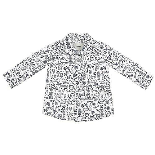 Fendi Jungen Hemd Weiß Bianco/Blu 12 Monate
